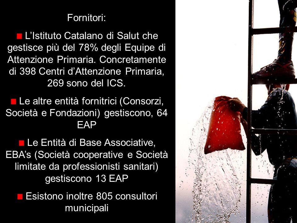 Fornitori: LIstituto Catalano di Salut che gestisce più del 78% degli Equipe di Attenzione Primaria.