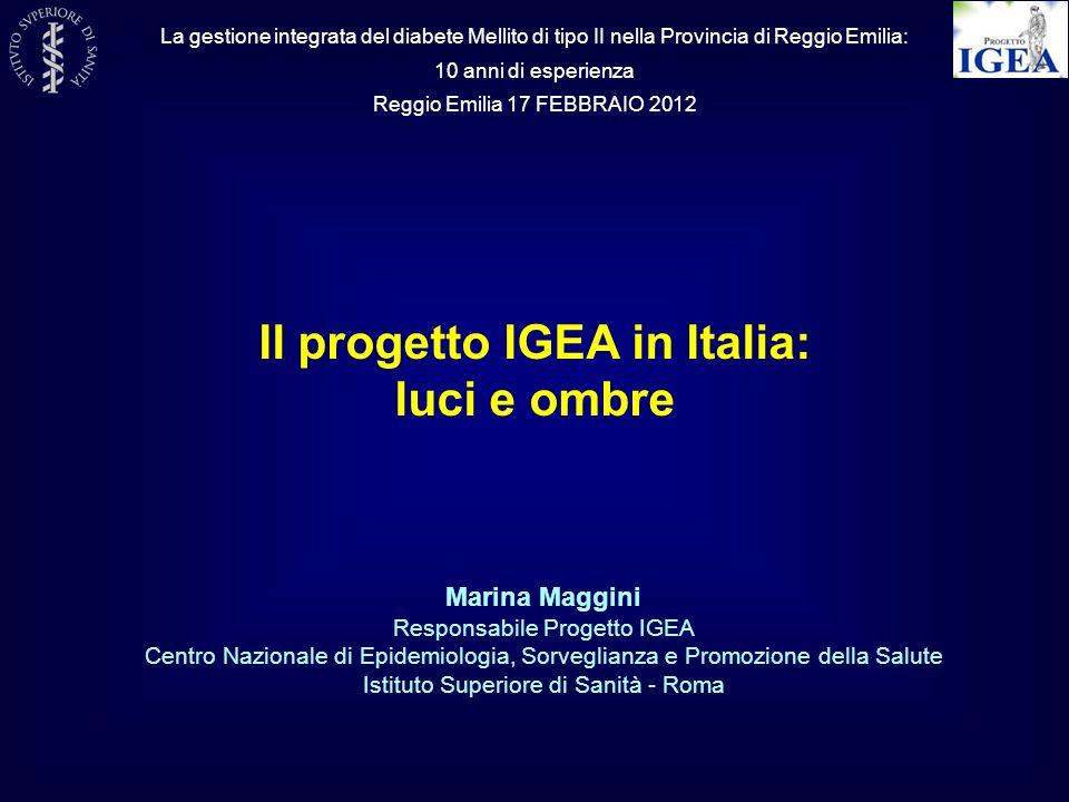 Progetto IGEA Studio DAI Studio QUADRI 1998-20042003-20042005 -2012 DIABETE Dagli studi eziologici alla qualità dellassistenza AMDPROFEA Rete nazionale