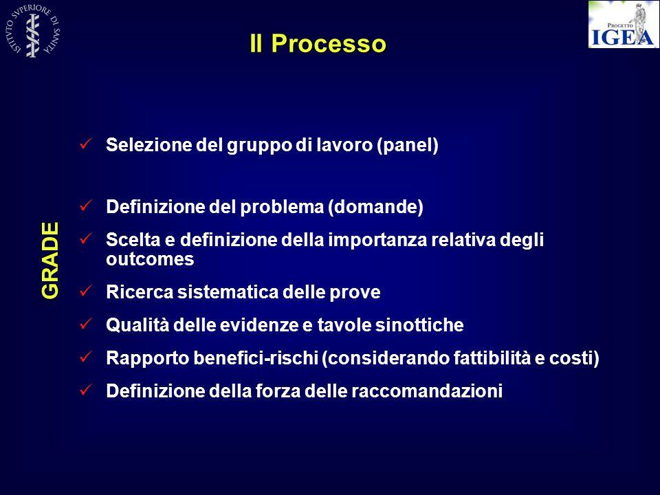 Il Processo Selezione del gruppo di lavoro (panel) Definizione del problema (domande) Scelta e definizione della importanza relativa degli outcomes Ri