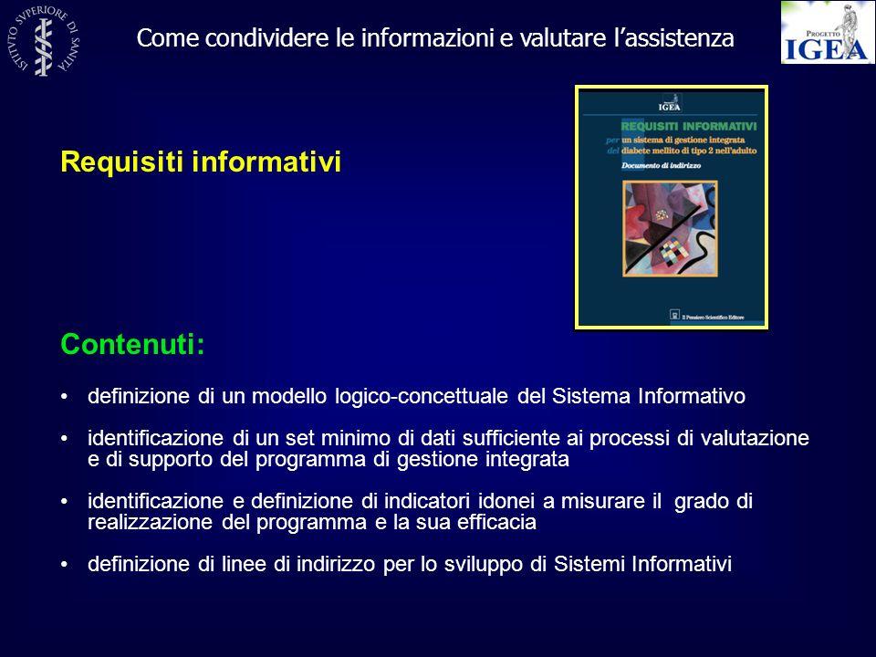 Requisiti informativi Come condividere le informazioni e valutare lassistenza Contenuti: definizione di un modello logico-concettuale del Sistema Info