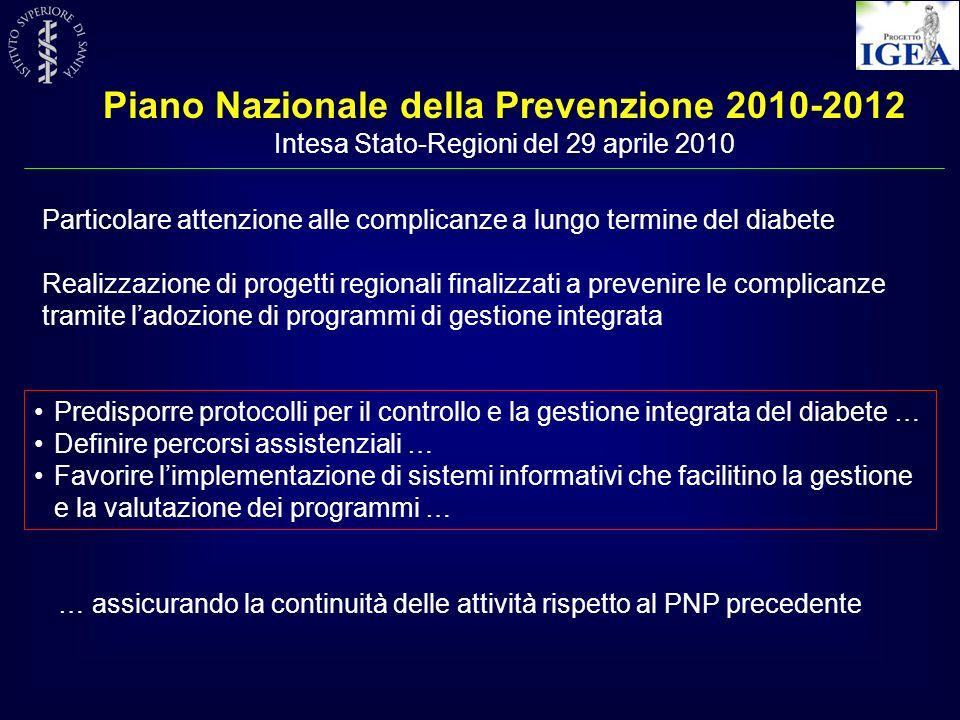 Piano Nazionale della Prevenzione 2010-2012 Intesa Stato-Regioni del 29 aprile 2010 Predisporre protocolli per il controllo e la gestione integrata de