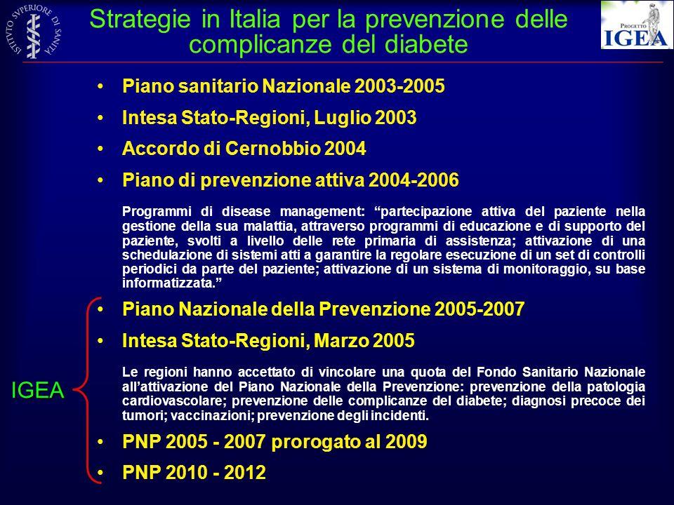 Strategie in Italia per la prevenzione delle complicanze del diabete Piano sanitario Nazionale 2003-2005 Intesa Stato-Regioni, Luglio 2003 Accordo di
