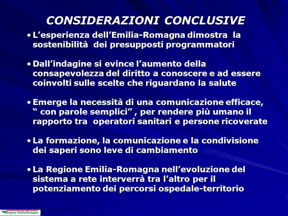 CONSIDERAZIONI CONCLUSIVE Lesperienza dellEmilia-Romagna dimostra la sostenibilità dei presupposti programmatori Dallindagine si evince laumento della