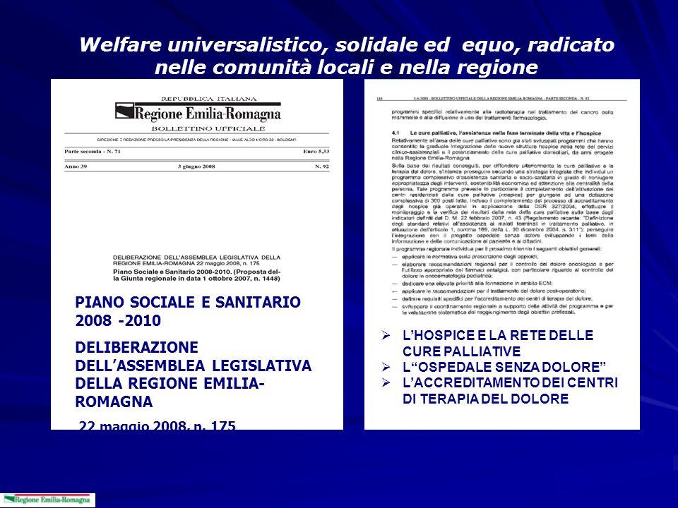 Welfare universalistico, solidale ed equo, radicato nelle comunità locali e nella regione PIANO SOCIALE E SANITARIO 2008 -2010 DELIBERAZIONE DELLASSEM