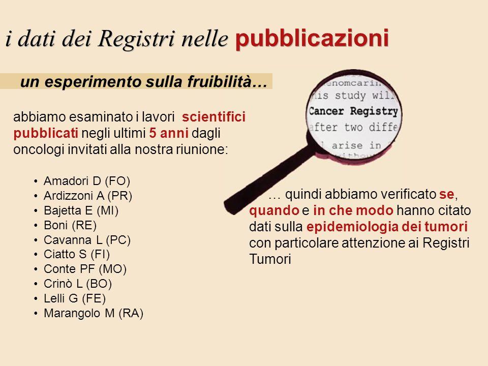i dati dei Registri nelle pubblicazioni un esperimento sulla fruibilità… abbiamo esaminato i lavori scientifici pubblicati negli ultimi 5 anni dagli o