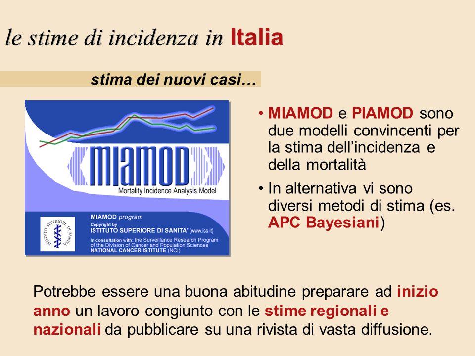 stima dei nuovi casi… le stime di incidenza in Italia MIAMOD e PIAMOD sono due modelli convincenti per la stima dellincidenza e della mortalità In alt
