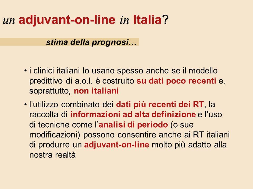 stima della prognosi… un adjuvant-on-line in Italia? i clinici italiani lo usano spesso anche se il modello predittivo di a.o.l. è costruito su dati p
