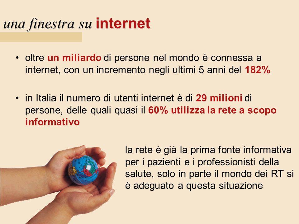 una finestra su internet oltre un miliardo di persone nel mondo è connessa a internet, con un incremento negli ultimi 5 anni del 182% in Italia il num