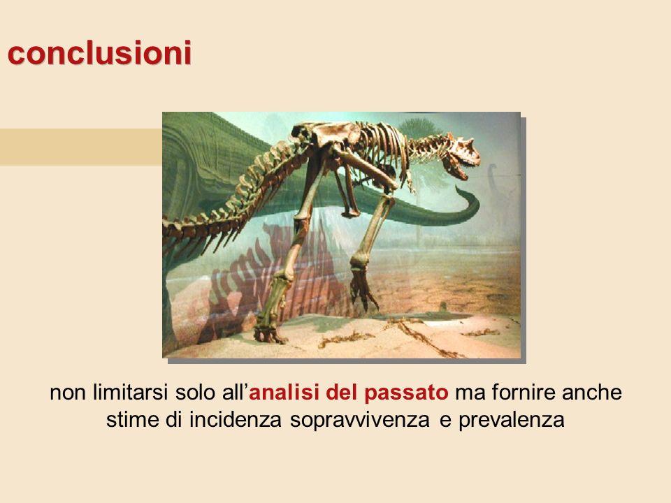 conclusioni non limitarsi solo allanalisi del passato ma fornire anche stime di incidenza sopravvivenza e prevalenza