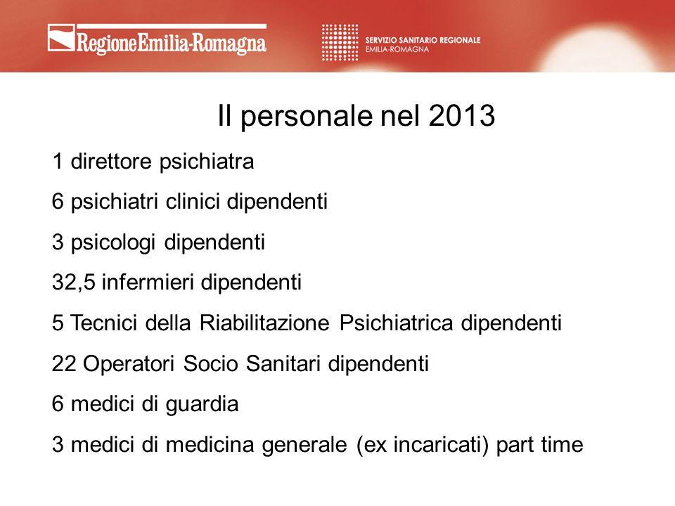Il personale nel 2013 1 direttore psichiatra 6 psichiatri clinici dipendenti 3 psicologi dipendenti 32,5 infermieri dipendenti 5 Tecnici della Riabili