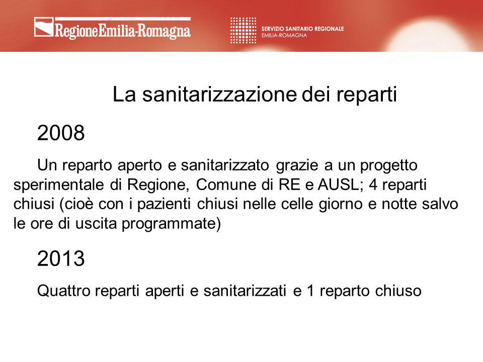 La sanitarizzazione dei reparti 2008 Un reparto aperto e sanitarizzato grazie a un progetto sperimentale di Regione, Comune di RE e AUSL; 4 reparti ch