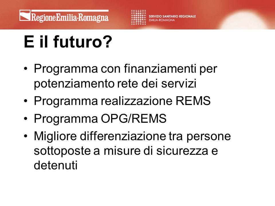 E il futuro? Programma con finanziamenti per potenziamento rete dei servizi Programma realizzazione REMS Programma OPG/REMS Migliore differenziazione