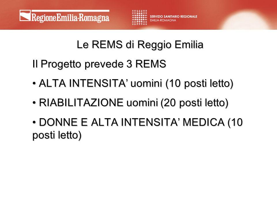 Le REMS di Reggio Emilia Il Progetto prevede 3 REMS ALTA INTENSITA uomini (10 posti letto) ALTA INTENSITA uomini (10 posti letto) RIABILITAZIONE uomin