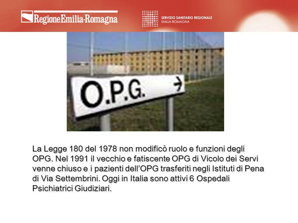 La Legge 180 del 1978 non modificò ruolo e funzioni degli OPG. Nel 1991 il vecchio e fatiscente OPG di Vicolo dei Servi venne chiuso e i pazienti dell