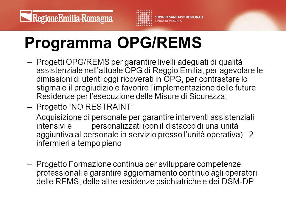 Programma OPG/REMS –Progetti OPG/REMS per garantire livelli adeguati di qualità assistenziale nellattuale OPG di Reggio Emilia, per agevolare le dimis