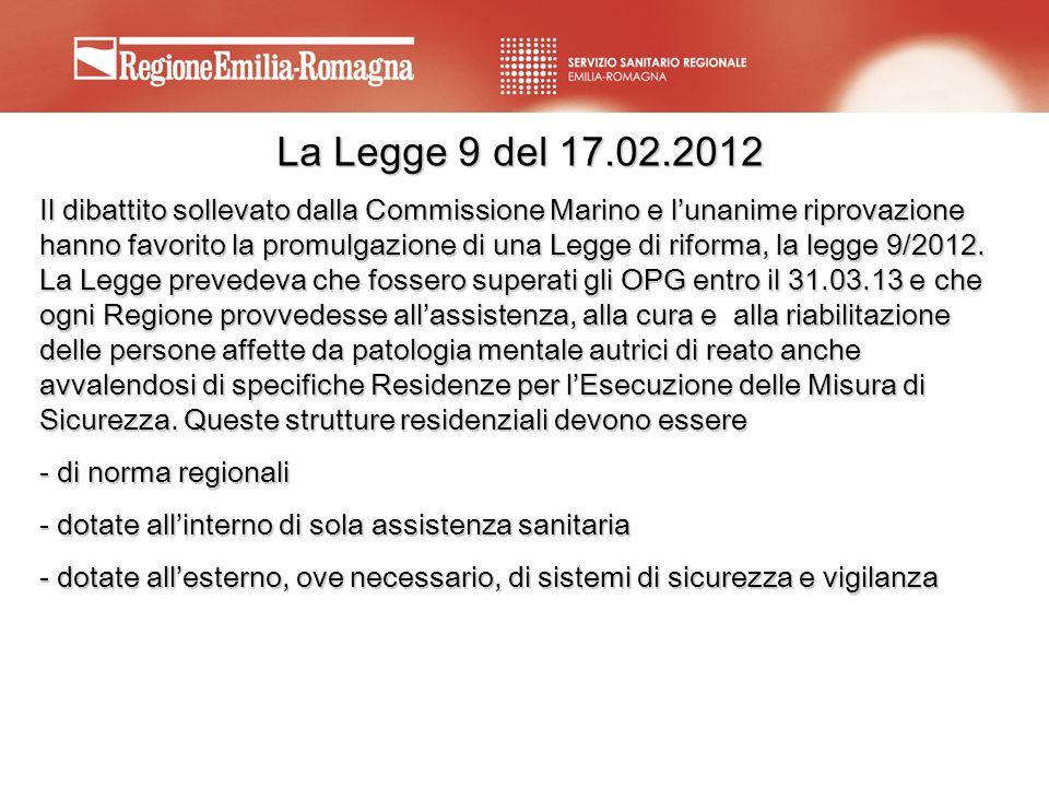 La Legge 9 del 17.02.2012 Il dibattito sollevato dalla Commissione Marino e lunanime riprovazione hanno favorito la promulgazione di una Legge di rifo