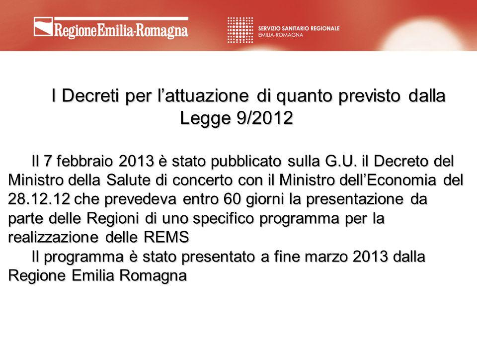 I Decreti per lattuazione di quanto previsto dalla Legge 9/2012 Il 7 febbraio 2013 è stato pubblicato sulla G.U. il Decreto del Ministro della Salute
