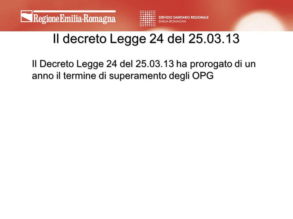 Il decreto Legge 24 del 25.03.13 Il Decreto Legge 24 del 25.03.13 ha prorogato di un anno il termine di superamento degli OPG