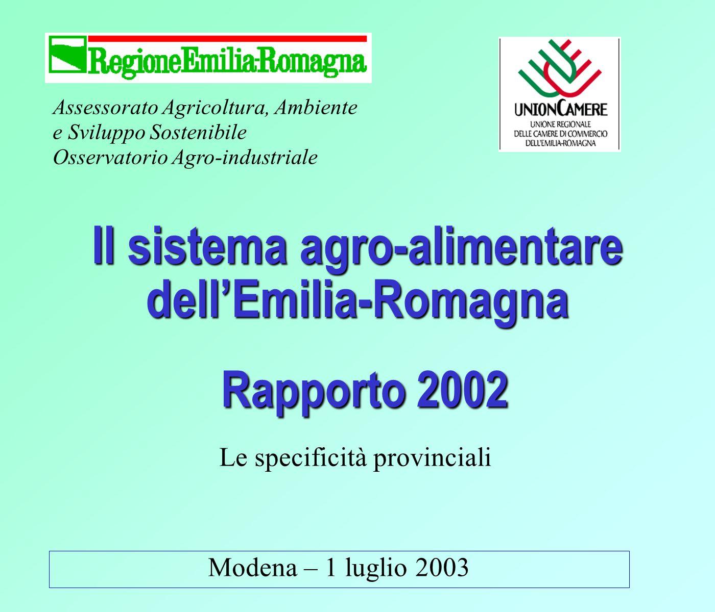 Assessorato Agricoltura, Ambiente e Sviluppo Sostenibile Osservatorio Agro-industriale Modena – 1 luglio 2003 Il sistema agro-alimentare dellEmilia-Romagna Rapporto 2002 Le specificità provinciali