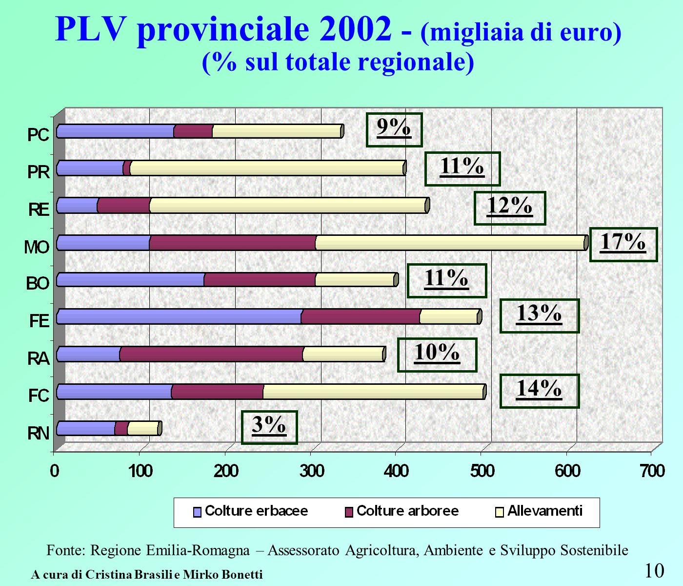 PLV provinciale 2002 - (migliaia di euro) (% sul totale regionale) 10 Fonte: Regione Emilia-Romagna – Assessorato Agricoltura, Ambiente e Sviluppo Sostenibile 9% 12% 17% 11% 13% 10% 14% 3% 11% A cura di Cristina Brasili e Mirko Bonetti