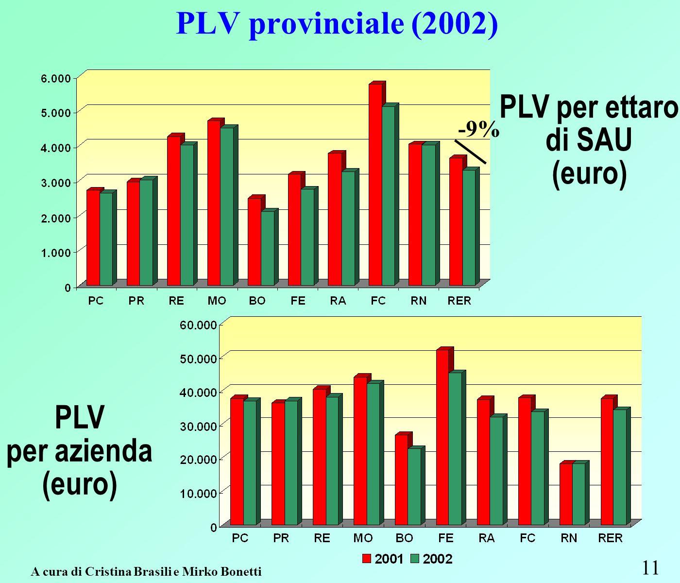 PLV provinciale (2002) 11 PLV per ettaro di SAU (euro) PLV per azienda (euro) A cura di Cristina Brasili e Mirko Bonetti -9%