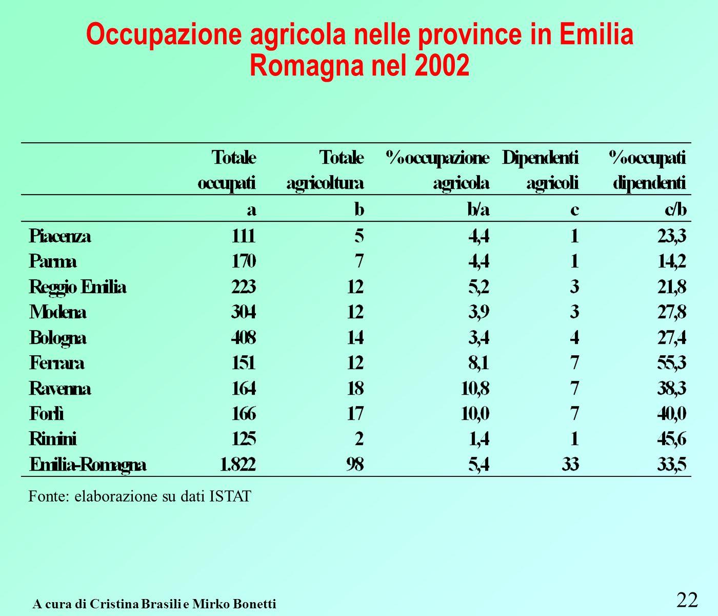 Occupazione agricola nelle province in Emilia Romagna nel 2002 22 A cura di Cristina Brasili e Mirko Bonetti Fonte: elaborazione su dati ISTAT