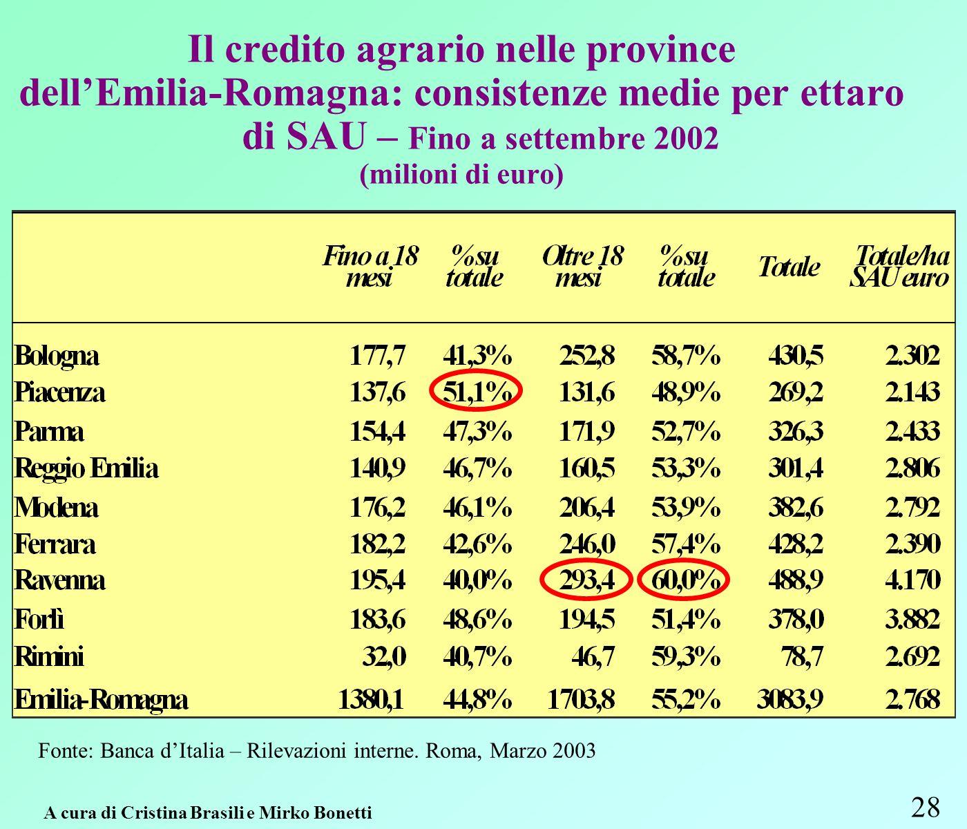 Il credito agrario nelle province dellEmilia-Romagna: consistenze medie per ettaro di SAU – Fino a settembre 2002 (milioni di euro) 28 Fonte: Banca dItalia – Rilevazioni interne.