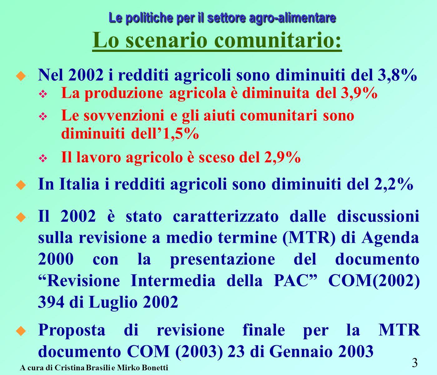 3 Le politiche per il settore agro-alimentare Lo scenario comunitario: Nel 2002 i redditi agricoli sono diminuiti del 3,8% La produzione agricola è diminuita del 3,9% Le sovvenzioni e gli aiuti comunitari sono diminuiti dell1,5% Il lavoro agricolo è sceso del 2,9% In Italia i redditi agricoli sono diminuiti del 2,2% Il 2002 è stato caratterizzato dalle discussioni sulla revisione a medio termine (MTR) di Agenda 2000 con la presentazione del documento Revisione Intermedia della PAC COM(2002) 394 di Luglio 2002 Proposta di revisione finale per la MTR documento COM (2003) 23 di Gennaio 2003 A cura di Cristina Brasili e Mirko Bonetti