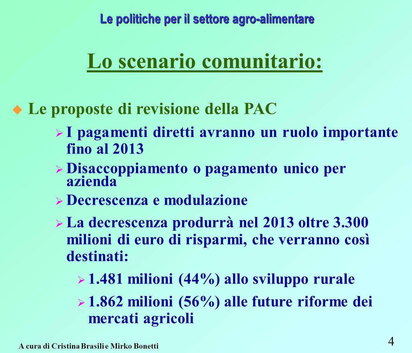 4 Le politiche per il settore agro-alimentare Lo scenario comunitario: Le proposte di revisione della PAC I pagamenti diretti avranno un ruolo importante fino al 2013 Disaccoppiamento o pagamento unico per azienda Decrescenza e modulazione La decrescenza produrrà nel 2013 oltre 3.300 milioni di euro di risparmi, che verranno così destinati: 1.481 milioni (44%) allo sviluppo rurale 1.862 milioni (56%) alle future riforme dei mercati agricoli A cura di Cristina Brasili e Mirko Bonetti