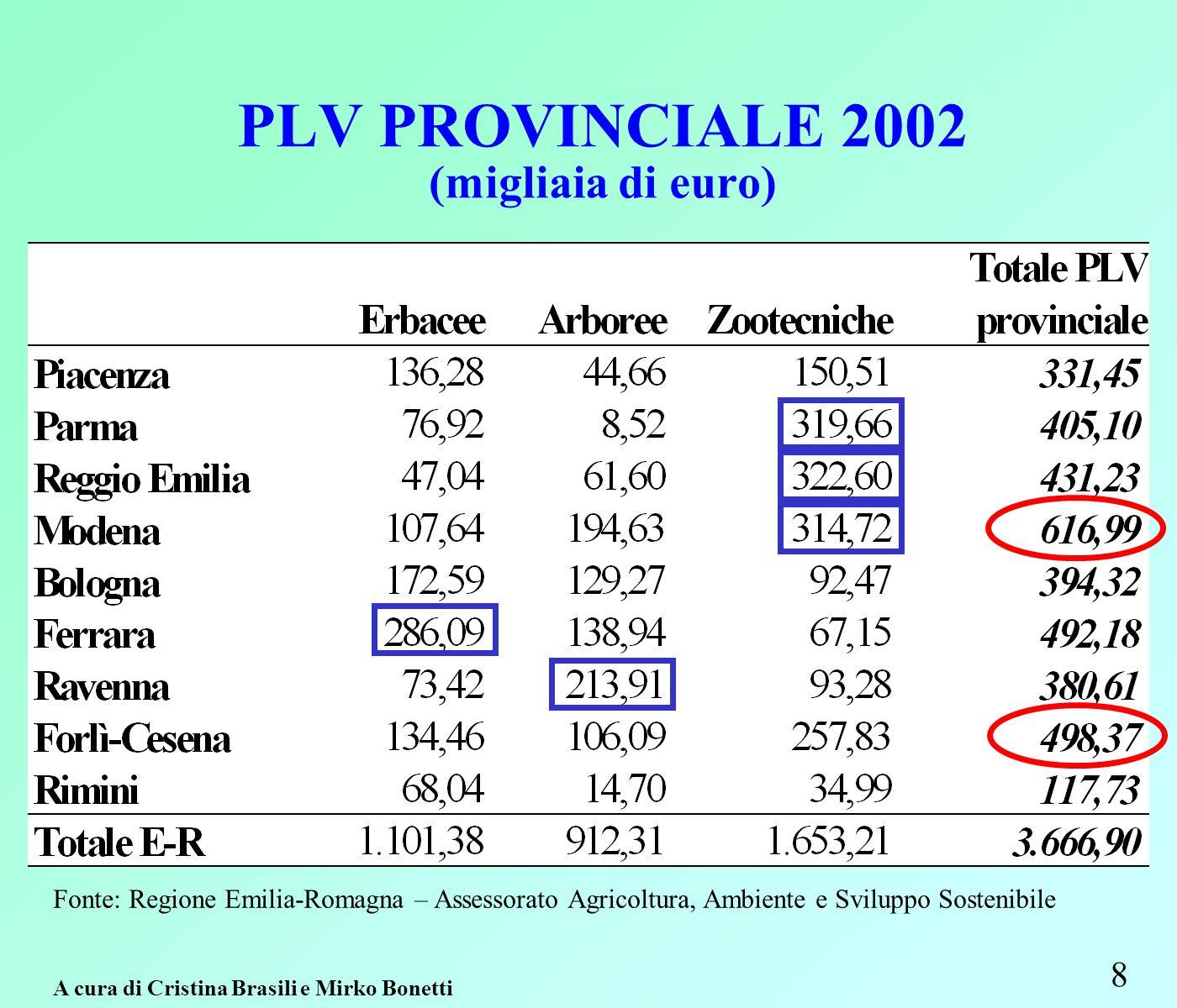 PLV PROVINCIALE 2002 (migliaia di euro) 8 Fonte: Regione Emilia-Romagna – Assessorato Agricoltura, Ambiente e Sviluppo Sostenibile A cura di Cristina Brasili e Mirko Bonetti
