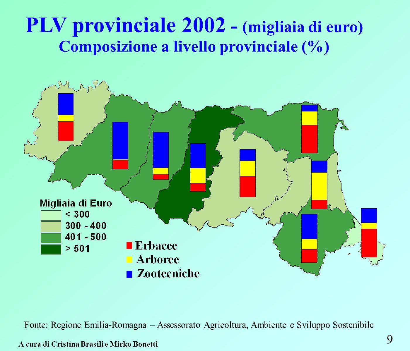 9 Fonte: Regione Emilia-Romagna – Assessorato Agricoltura, Ambiente e Sviluppo Sostenibile A cura di Cristina Brasili e Mirko Bonetti PLV provinciale 2002 - (migliaia di euro) Composizione a livello provinciale (%)
