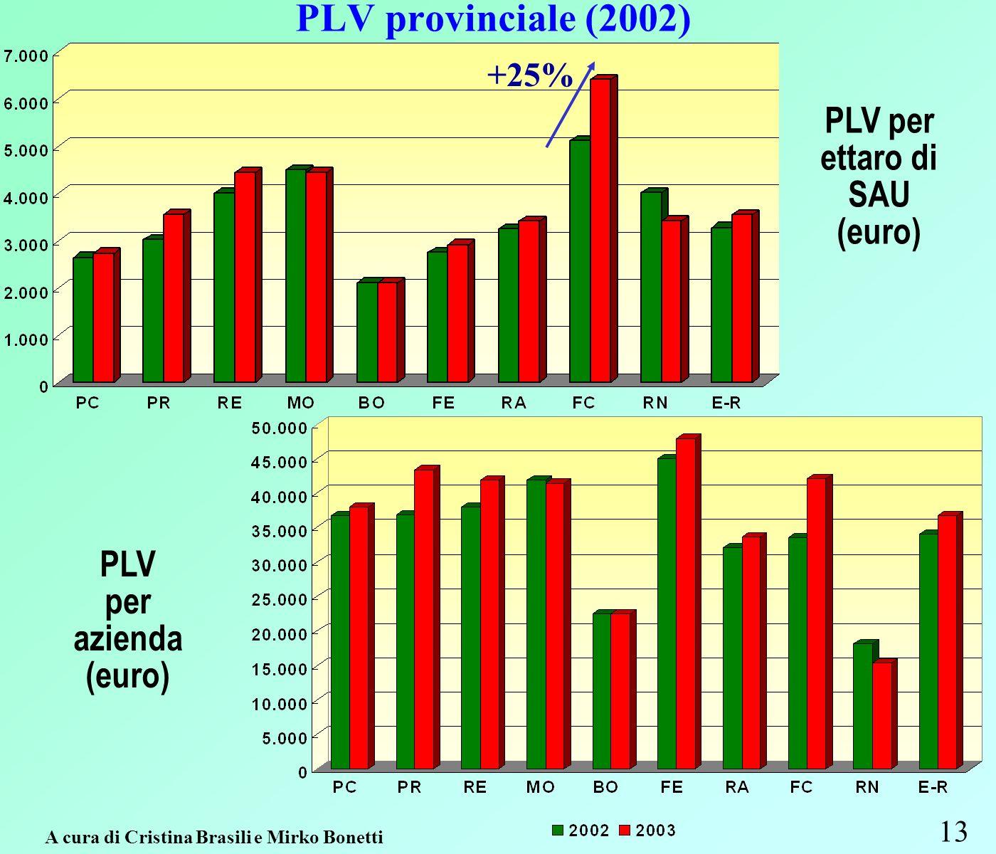 PLV provinciale (2002) 13 PLV per ettaro di SAU (euro) PLV per azienda (euro) A cura di Cristina Brasili e Mirko Bonetti +25%