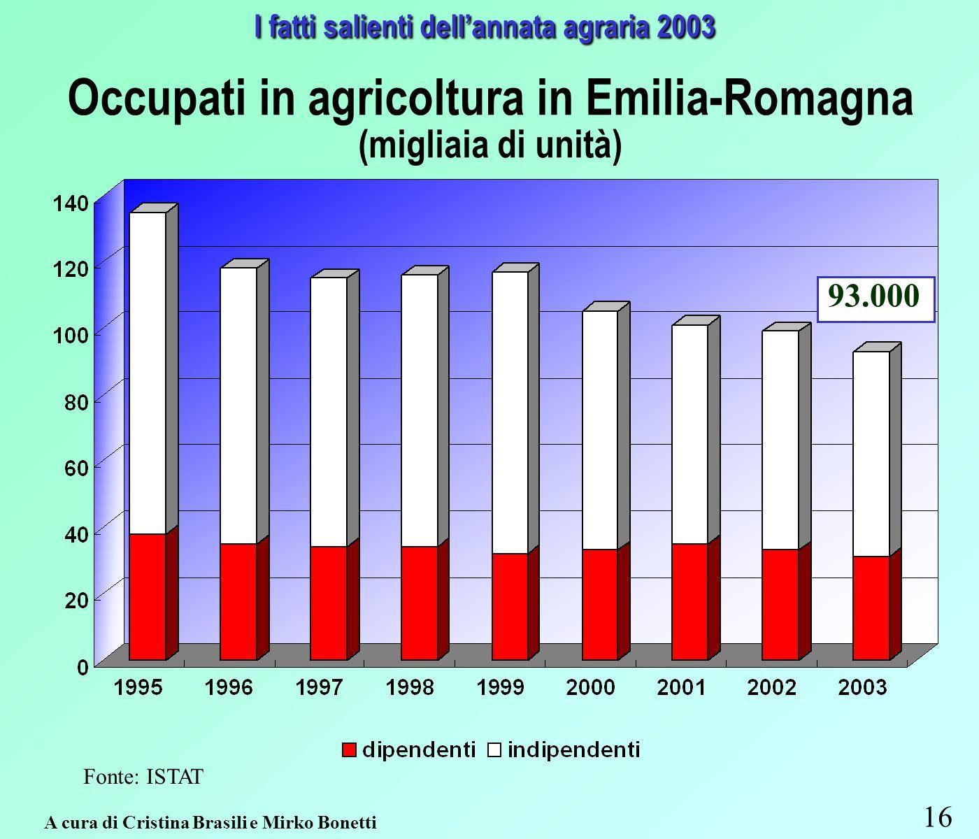 16 A cura di Cristina Brasili e Mirko Bonetti I fatti salienti dellannata agraria 2003 Occupati in agricoltura in Emilia-Romagna (migliaia di unità) Fonte: ISTAT 93.000