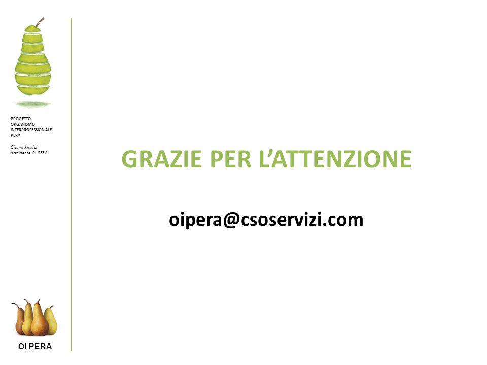 OI PERA GRAZIE PER LATTENZIONE oipera@csoservizi.com PROGETTO ORGANISMO INTERPROFESSIONALE PERA Gianni Amidei presidente OI PERA
