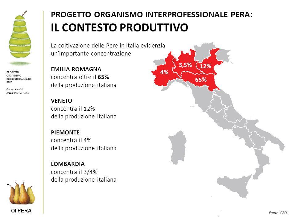 OI PERA PROGETTO ORGANISMO INTERPROFESSIONALE PERA Gianni Amidei presidente OI PERA PROGETTO ORGANISMO INTERPROFESSIONALE PERA: IL CONTESTO PRODUTTIVO La coltivazione delle Pere in Italia evidenzia unimportante concentrazione EMILIA ROMAGNA concentra oltre il 65% della produzione italiana VENETO concentra il 12% della produzione italiana PIEMONTE concentra il 4% della produzione italiana LOMBARDIA concentra il 3/4% della produzione italiana Fonte: CSO 65% 12% 4% 3,5%