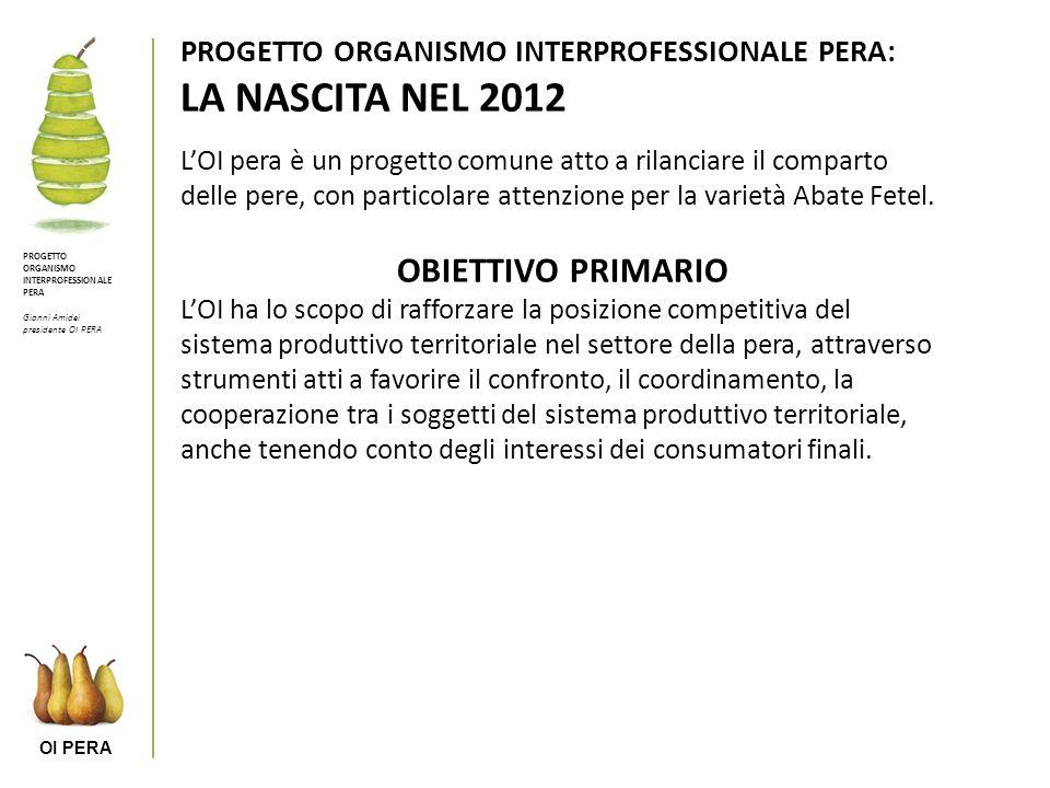 OI PERA PROGETTO ORGANISMO INTERPROFESSIONALE PERA: LA NASCITA NEL 2012 LOI pera è un progetto comune atto a rilanciare il comparto delle pere, con particolare attenzione per la varietà Abate Fetel.