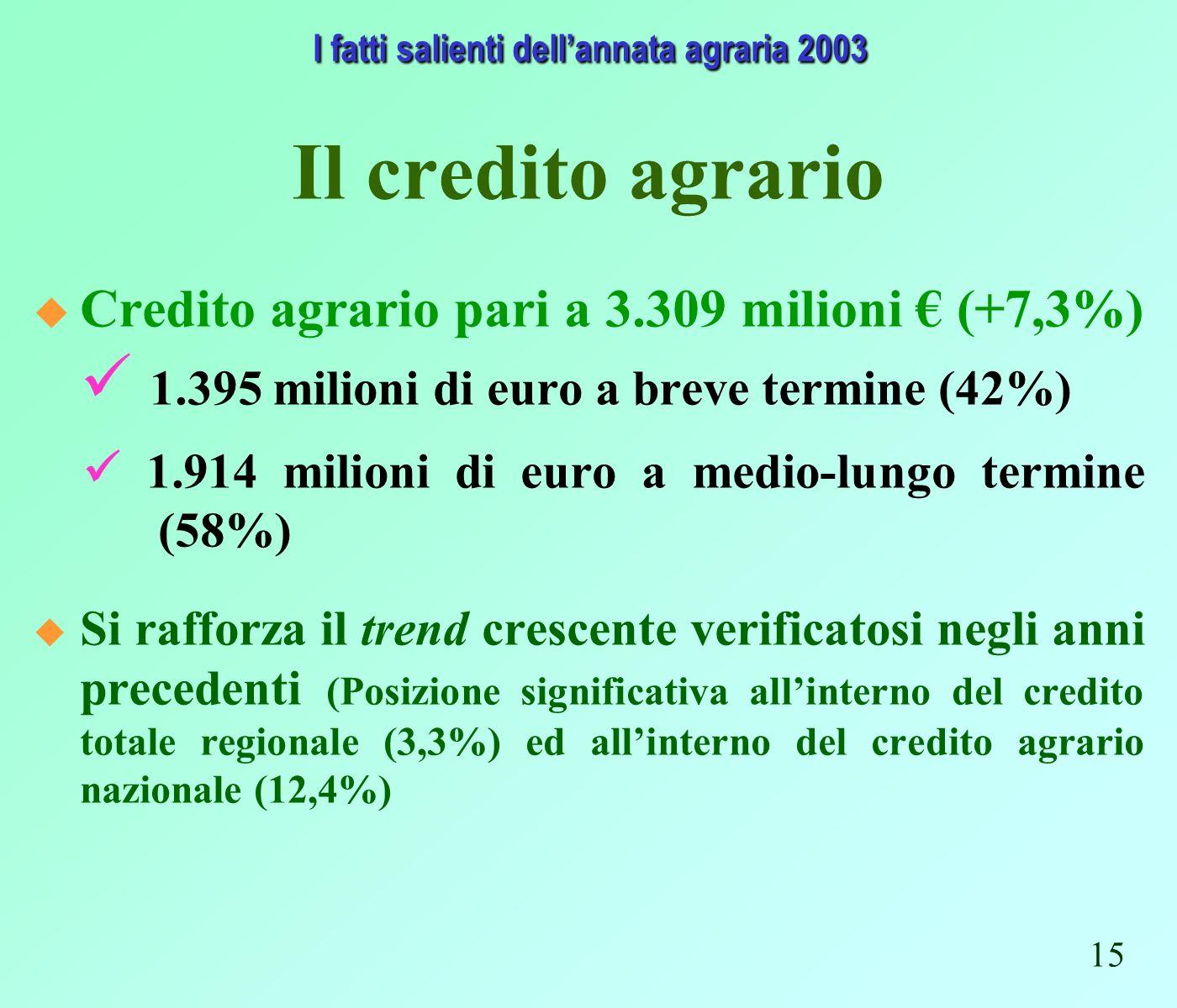 Il credito agrario Credito agrario pari a 3.309 milioni (+7,3%) 1.395 milioni di euro a breve termine (42%) 1.914 milioni di euro a medio-lungo termine (58%) Si rafforza il trend crescente verificatosi negli anni precedenti (Posizione significativa allinterno del credito totale regionale (3,3%) ed allinterno del credito agrario nazionale (12,4%) I fatti salienti dellannata agraria 2003 I fatti salienti dellannata agraria 2003 15