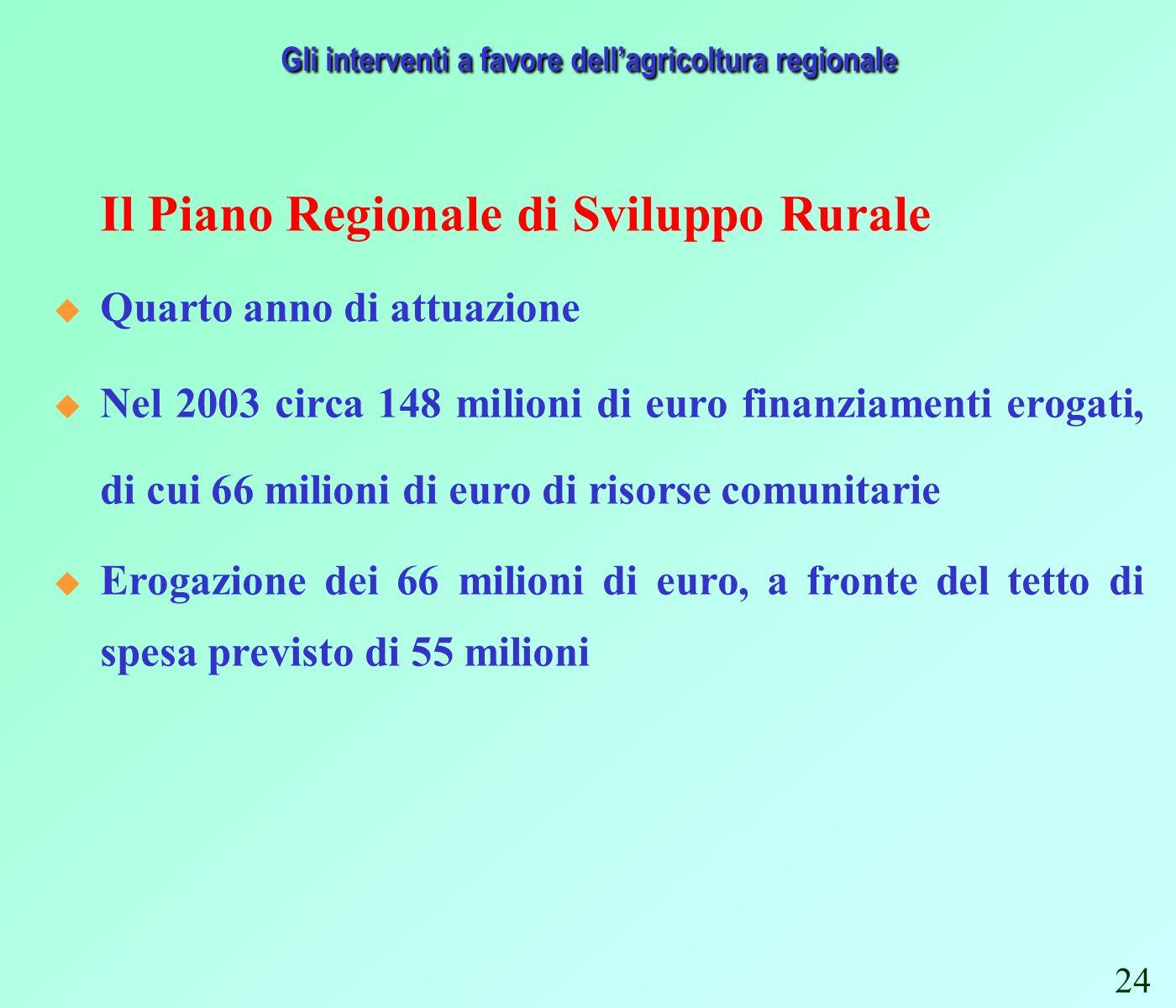 Il Piano Regionale di Sviluppo Rurale Quarto anno di attuazione Nel 2003 circa 148 milioni di euro finanziamenti erogati, di cui 66 milioni di euro di risorse comunitarie Erogazione dei 66 milioni di euro, a fronte del tetto di spesa previsto di 55 milioni Gli interventi a favore dellagricoltura regionale 24