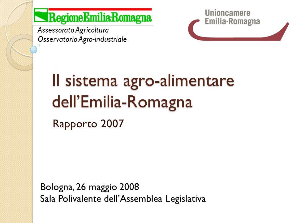 Il sistema agro-alimentare dellEmilia-Romagna Rapporto 2007 Assessorato Agricoltura Osservatorio Agro-industriale Bologna, 26 maggio 2008 Sala Polivalente dellAssemblea Legislativa