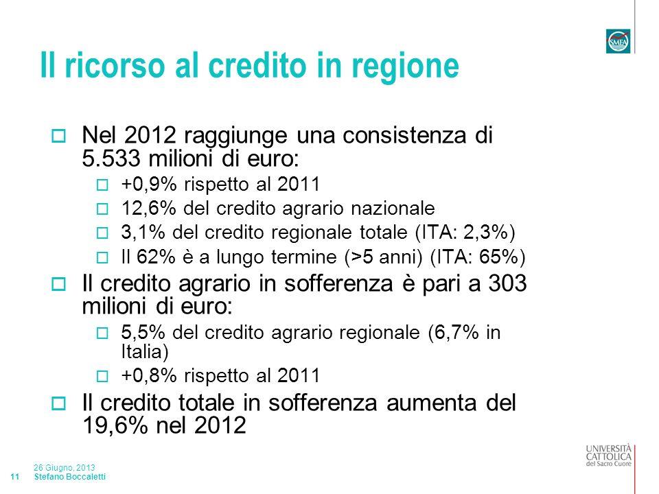 Stefano Boccaletti 26 Giugno, 2013 11 Il ricorso al credito in regione Nel 2012 raggiunge una consistenza di 5.533 milioni di euro: +0,9% rispetto al 2011 12,6% del credito agrario nazionale 3,1% del credito regionale totale (ITA: 2,3%) Il 62% è a lungo termine (>5 anni) (ITA: 65%) Il credito agrario in sofferenza è pari a 303 milioni di euro: 5,5% del credito agrario regionale (6,7% in Italia) +0,8% rispetto al 2011 Il credito totale in sofferenza aumenta del 19,6% nel 2012