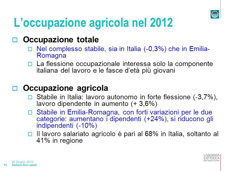 Stefano Boccaletti 26 Giugno, 2013 15 Loccupazione agricola nel 2012 Occupazione totale Nel complesso stabile, sia in Italia (-0,3%) che in Emilia- Romagna La flessione occupazionale interessa solo la componente italiana del lavoro e le fasce detà più giovani Occupazione agricola Stabile in Italia: lavoro autonomo in forte flessione (-3,7%), lavoro dipendente in aumento (+ 3,6%) Stabile in Emilia-Romagna, con forti variazioni per le due categorie: aumentano i dipendenti (+24%), si riducono gli indipendenti (-10%) Il lavoro salariato agricolo è pari al 68% in Italia, soltanto al 41% in regione