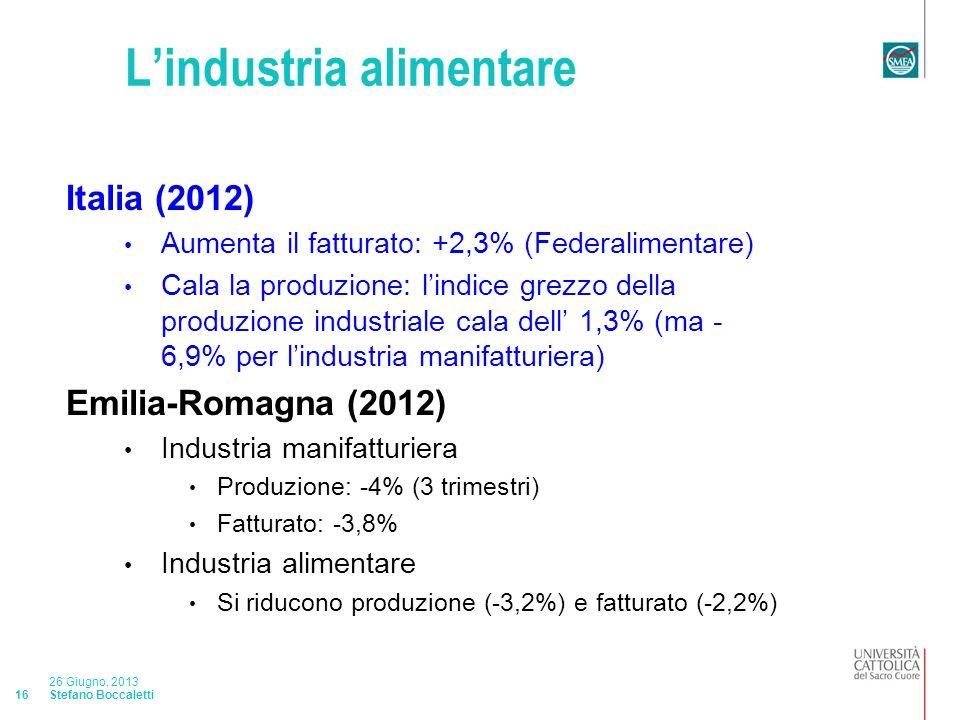 Stefano Boccaletti 26 Giugno, 2013 16 Lindustria alimentare Italia (2012) Aumenta il fatturato: +2,3% (Federalimentare) Cala la produzione: lindice grezzo della produzione industriale cala dell 1,3% (ma - 6,9% per lindustria manifatturiera) Emilia-Romagna (2012) Industria manifatturiera Produzione: -4% (3 trimestri) Fatturato: -3,8% Industria alimentare Si riducono produzione (-3,2%) e fatturato (-2,2%)