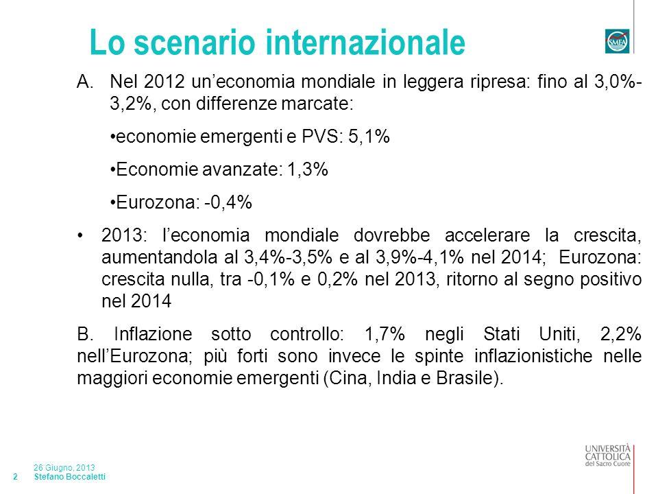 Stefano Boccaletti 26 Giugno, 2013 2 Lo scenario internazionale A.Nel 2012 uneconomia mondiale in leggera ripresa: fino al 3,0%- 3,2%, con differenze marcate: economie emergenti e PVS: 5,1% Economie avanzate: 1,3% Eurozona: -0,4% 2013: leconomia mondiale dovrebbe accelerare la crescita, aumentandola al 3,4%-3,5% e al 3,9%-4,1% nel 2014; Eurozona: crescita nulla, tra -0,1% e 0,2% nel 2013, ritorno al segno positivo nel 2014 B.