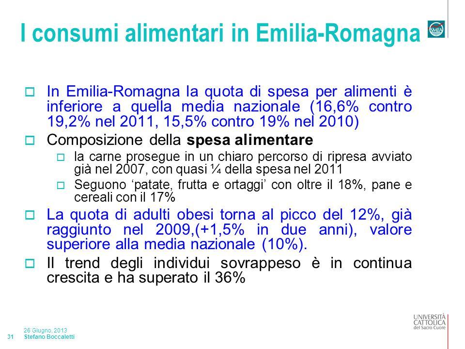 Stefano Boccaletti 26 Giugno, 2013 31 I consumi alimentari in Emilia-Romagna In Emilia-Romagna la quota di spesa per alimenti è inferiore a quella media nazionale (16,6% contro 19,2% nel 2011, 15,5% contro 19% nel 2010) Composizione della spesa alimentare la carne prosegue in un chiaro percorso di ripresa avviato già nel 2007, con quasi ¼ della spesa nel 2011 Seguono patate, frutta e ortaggi con oltre il 18%, pane e cereali con il 17% La quota di adulti obesi torna al picco del 12%, già raggiunto nel 2009,(+1,5% in due anni), valore superiore alla media nazionale (10%).