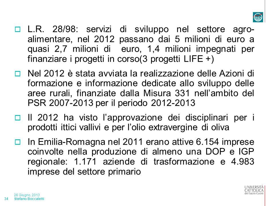 Stefano Boccaletti 26 Giugno, 2013 34 L.R.