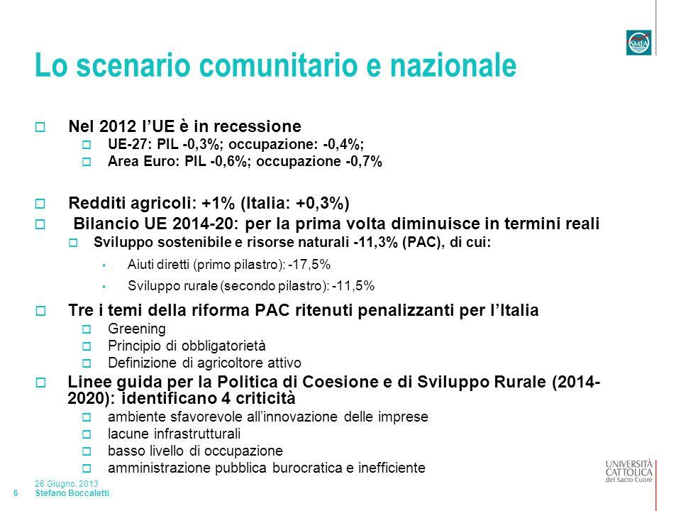 Stefano Boccaletti 26 Giugno, 2013 17 La struttura dellindustria alimentare Imprese alimentari industriali dellEmilia-Romagna Le imprese alimentari sono il 10,1% delle manifatturiere Nel periodo 2009-2012 si riducono le manifatturiere (- 4,2%) e aumentano le alimentari (+0,8%) Si riducono soprattutto quelle Ittiche: -15,8% Molitorie: -6,9% Delle bevande: -6,5% Mangimistiche: -6,3% e aumentano Altri prodotti: +8,1% Oli e grassi vegetali: 4,9% Prodotti da forno: 3% Conserve vegetali: +2,8%