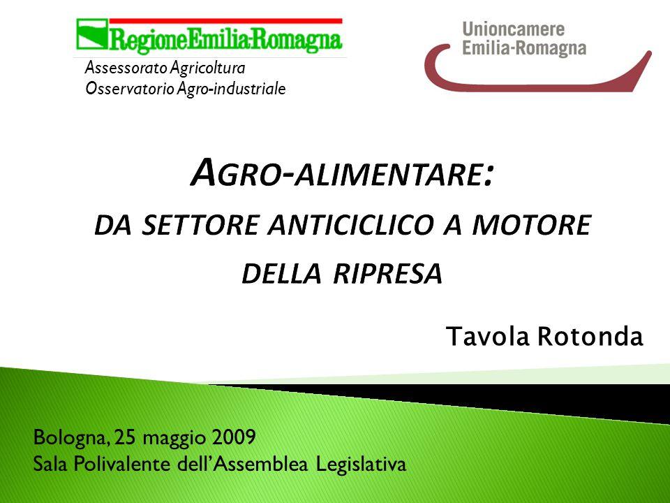 Tavola Rotonda Assessorato Agricoltura Osservatorio Agro-industriale Bologna, 25 maggio 2009 Sala Polivalente dellAssemblea Legislativa