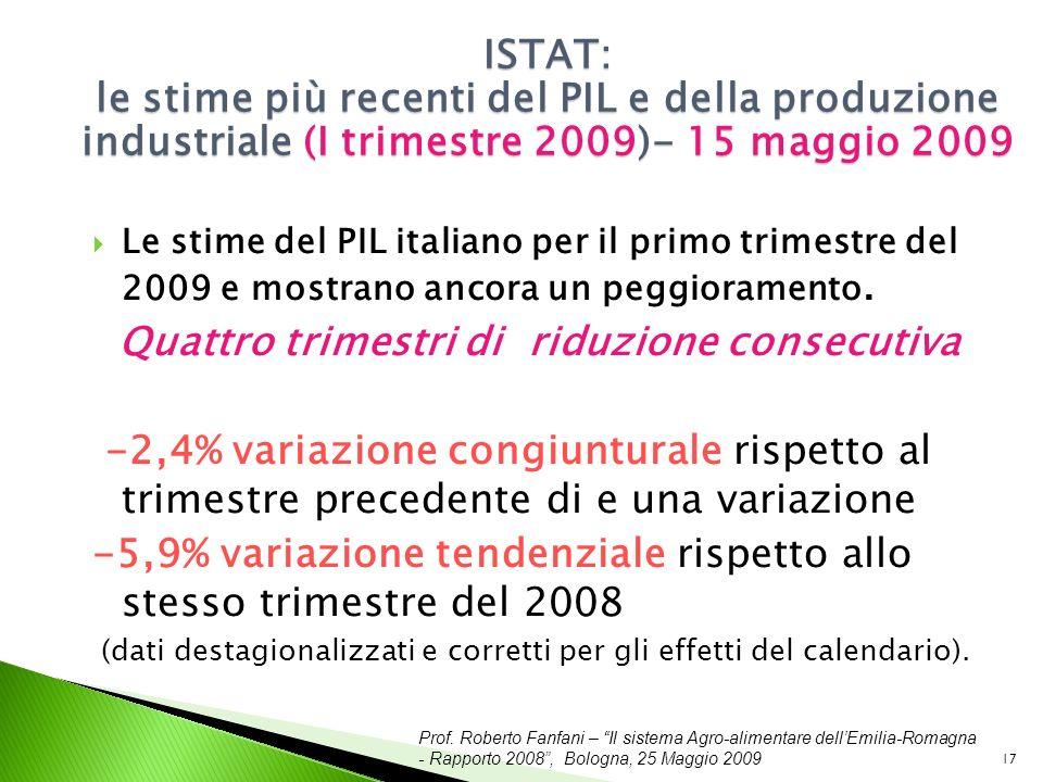 Prof. Roberto Fanfani – Il sistema Agro-alimentare dellEmilia-Romagna - Rapporto 2008, Bologna, 25 Maggio 2009 17 ISTAT: le stime più recenti del PIL
