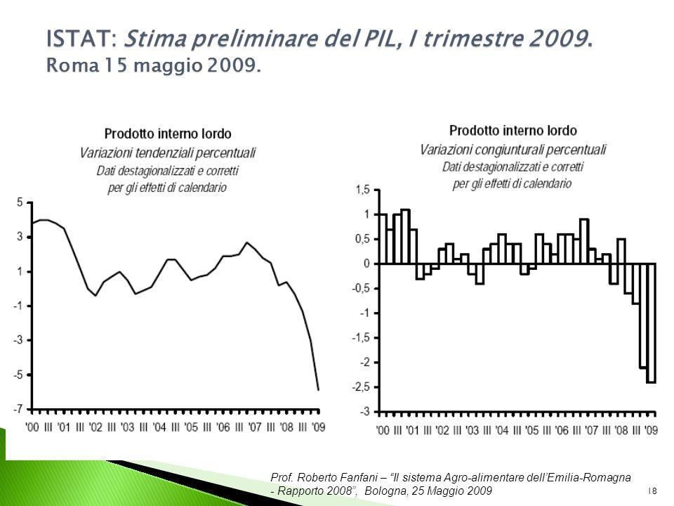 Prof. Roberto Fanfani – Il sistema Agro-alimentare dellEmilia-Romagna - Rapporto 2008, Bologna, 25 Maggio 2009 18 ISTAT: Stima preliminare del PIL, I