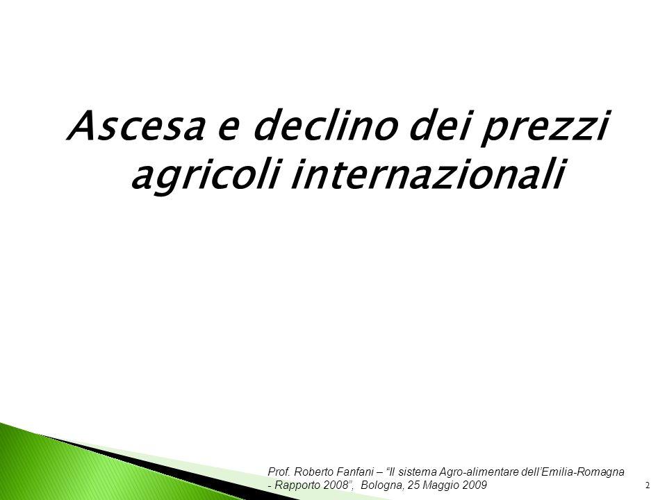 Prof. Roberto Fanfani – Il sistema Agro-alimentare dellEmilia-Romagna - Rapporto 2008, Bologna, 25 Maggio 2009 2 Ascesa e declino dei prezzi agricoli
